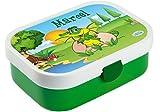 Mein Zwergenland Brotdose Mepal Campus mit Bento Box und Gabel mit eigenem Namen Dino (Grün)