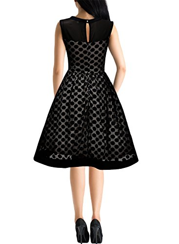 Miusol Knielang Abendkleid Retro 50er Rockabilly kleid Cocktail Ballkleid Schwarz - 2