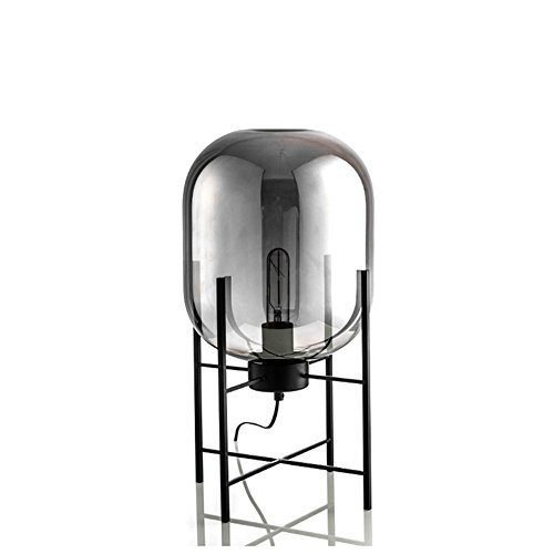 Joeyhome Post moderne weiße Glas Stehlampe Kunst milchig Tisch Licht Mode Design Bernstein grau Glas einfach nordischen Stil Schmiedeeisen Halter, Rauch grau, H 45cm