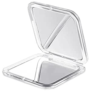 JERRYBOX Specchio Tascabile con lente d'ingrandimento, Specchio Compatto, Portatile, Bifacciale, Ingrandimento 5x e Specchio 1x, per gli Uomini e le Donne