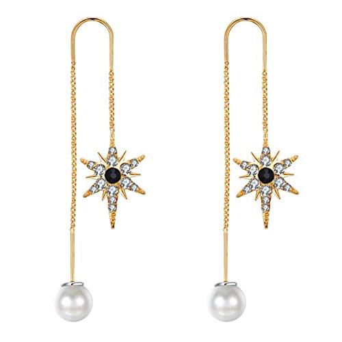 wicemoon Starburst Stilvolles Temperament Perle Diamant Ohrringe einfache minimalistischen Sassel die Line Anhänger Ohrringe gold (Diamant-ohrringe Frau Für Die)