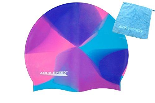 Aqua Speed® Set - BUNT Badekappe + Kleines Mikrofaser Handtuch | Silikon | Bademütze | Badehaube | Schwimmhaube | Erwachsene | Damen | Herren | Kinder, Kappen Designs:48. Bunt / 45