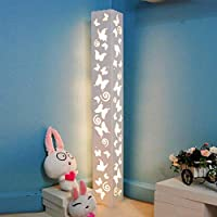 Lámpara de pie LED blanca cálida Lámpara de pie de talla hueca de mariposa Placa de plástico de madera de PVC Materiales Interruptor de pedal Lámpara LED AC 200-230V Perfecto para dormitorio