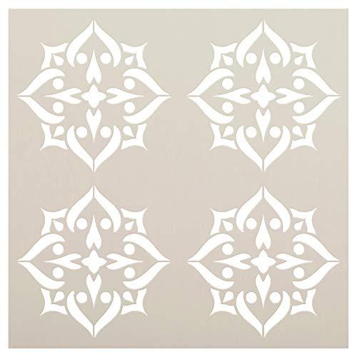 Mandala-Pik-4Fliesen Muster Schablone von studior12| wiederverwendbar Mylar | Vorlage, zu malen Holz Schilder-Paletten-Kissen-Wand-Kunst-Bodenfliesen-Größe wählen 12