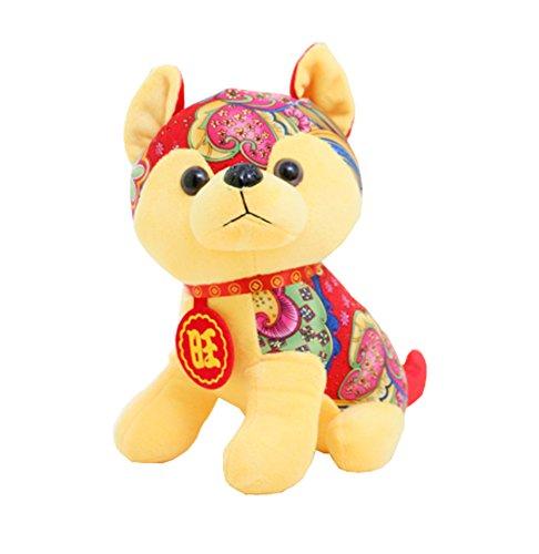 Jahr des Hund Maskottchens Wangcai Lunar New Year Welpen Plüschtier Puppe, D7 (Ausgestopfte Tiere Realistische Hund)