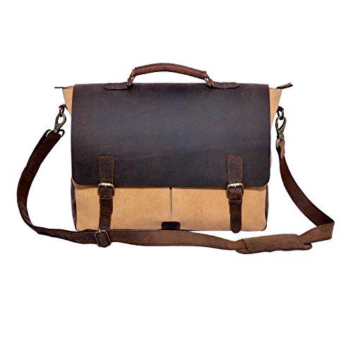 Craft Play Handicraft Brown/Tan Color Canvas Laptop Bag/Travel Bag
