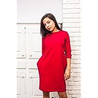 Rotes Frauenkleid , Damen Kleid- 100% Baumwolle, L / XL Größe