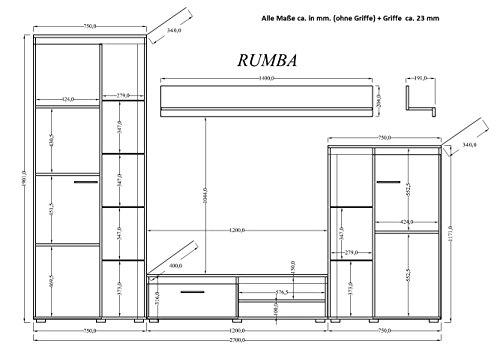 Küchen-Preisbombe Wohnwand Rumba Anbauwand Wohnkombi Wohnzimmer Weiss matt Bild 2*