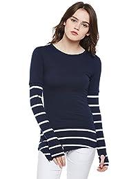 73b7f8d1f08e3f Hypernation Blue and White Stripe Round Neck Cotton Thumb Insert  Asymmetrical T-Shirt for Women