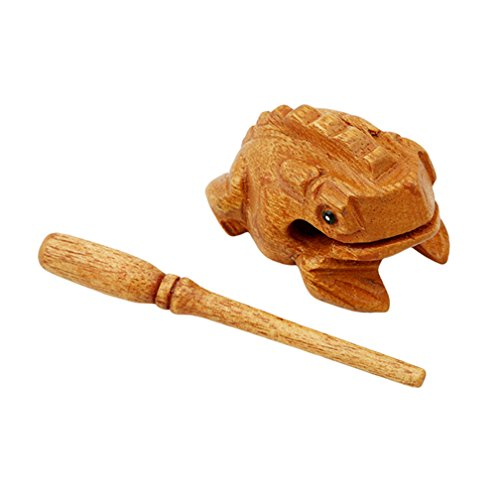 LJSLYJ Mini Wooden Croaking Frog Güiro - Fair Trade Percussion Instrument - Fun for all Ages. (Wooden color)