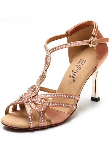ShangYi Chaussures de danse ( Noir / Autre ) - Non Personnalisables - Talon Cubain - Satin - Latine / Jazz / Moderne / Chaussures de Swing Black