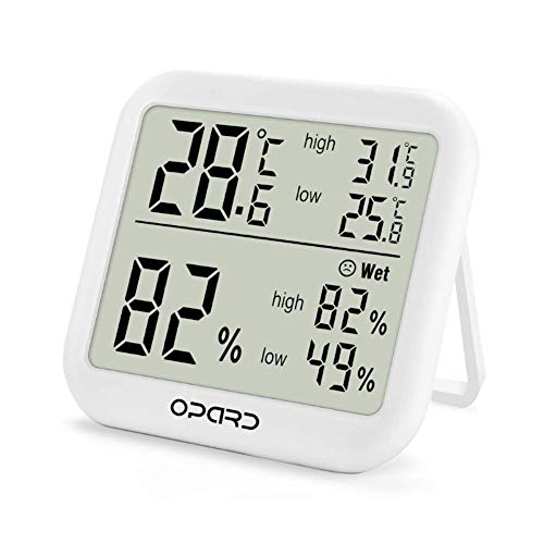 Opard digitales Thermometer Hygrometer innen,Raumthermometer,Thermo Hygrometer,Hydrometer Feuchtigkeit,Zimmerthermometer,luftfeuchtigkeitsmessgerät, Temperatur und luftfeuchtigkeitsmesser(Weiß)