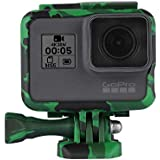 Action Pro Camouflage Protective Frame Mount Housing Camera Border With Quick Release Buckle And Screw For GoPro Hero 6 Hero 5 Accessory (Green)