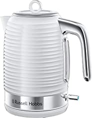 Russell Hobbs 24360 Inspire Electric Kettle, 3000 W Fast Boil, 1.7 Litre, White with Chrome Accents