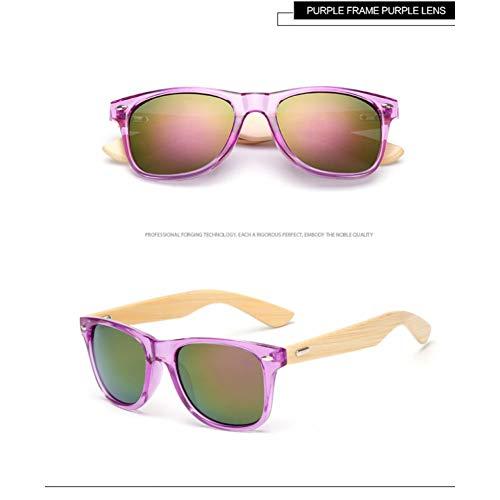 Taiyangcheng Bambus Holz Sonnenbrille Männer Frauen Brille Gold Spiegel Sonnenbrille Shades,Lila Lila