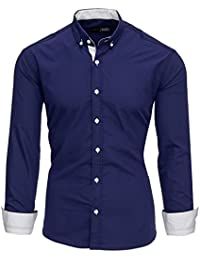Tazzio Herren Slim Fit Hemd Bügelleicht Business Freizeit Shirt 16318