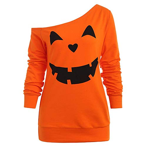 LOPILY Halloween Shirts Kürbis Kostüm Damen Schulterfrei 3D Sweatshirts für Halloween EIN Schulter Sexy Halloween Party Tshirt Gruselige Muster Oberteile Damen Halloween Kostüme (Orange, 44)