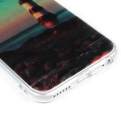 Badalink Coque pour iPhone 6 6S, Case Housse Étui Bumper Coque de Protection TPU + IMD Silicone Gel Transparent Souple Flexible Ultra Mince Slim Léger Anti Rayure Antichoc Housse Coque Motif Coucher d Phare