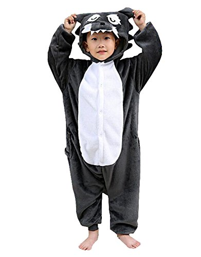 Rojean Kinder Wolf Pyjamas Tier Kostüm Onesie Kinder Schlaf Tragen Cosplay Weihnachten Halloween Geschenk für Mädchen und Jungen