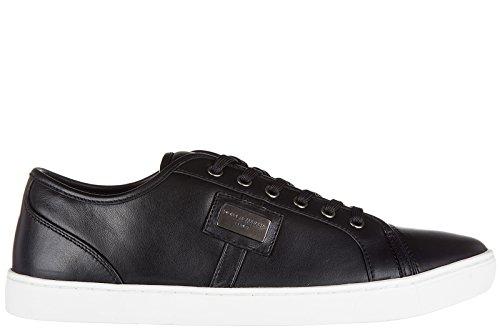 Dolce & Gabbana Herrenschuhe Herren Leder Schuhe Sneakers Schwarz EU 44 CS0930 B6165 80999 (Sneakers Gabbana & Leder Dolce)