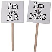 Figurine Mr & Mrs Décoration de Gâteau pour Mariage Accessoires Photo Amusants