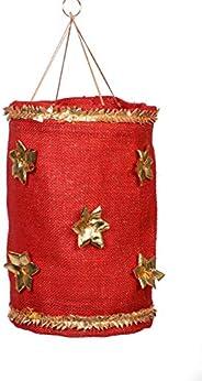 mitti se mitti tak. Kandil/Folding Festive Lantern Made of red Jute Fabric Embellished with Gold gota Flowers