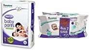 Himalaya Total Care Baby Pants Diapers, Small, 54 Count and Gentle Wipes (72 Napkins of 2 Packs) Combo