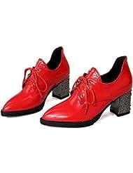 LDMB Zapatos para mujer de corte remaches Cruz correas de tacón alto Casual cómodos zapatos , red , 36