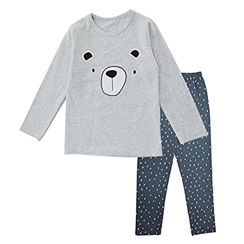 BINIDUCKLING Boys Girls Pyjamas Set for Toddler 100% Cotton Bear Sleepwear Pjs