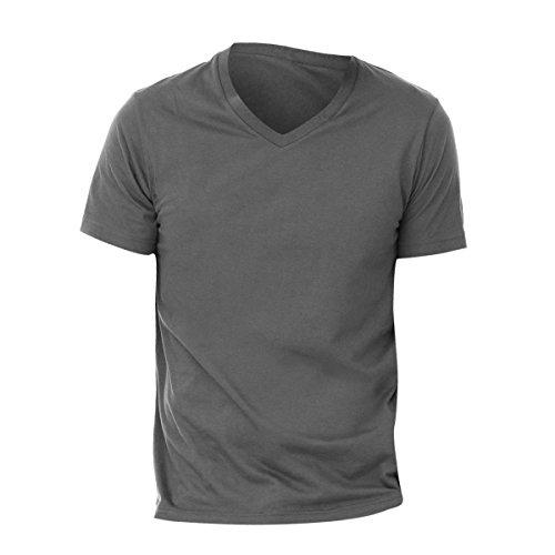 Canvas Herren T-Shirt mit V-Ausschnitt, kurzärmlig (Large) (Dunkelgrau meliert) -