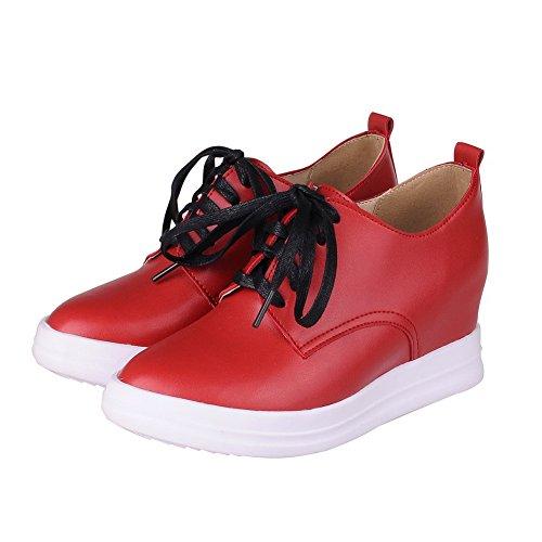 AgooLar Damen Mittler Absatz Rein Schnüren Weiches Material Rund Zehe Pumps Schuhe Rot