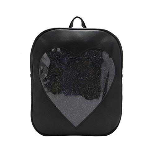 Dairyshop Adatti le ragazze delle ragazze Kawaii trasparente Love Heart Shape dello zaino sveglio del sacchetto della scuola (Verde chiaro) Nero