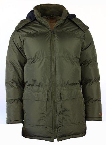 Da uomo SHINE Fashion caldo giacca imbottita cappotto parka invernale con cappuccio Olive X-Large