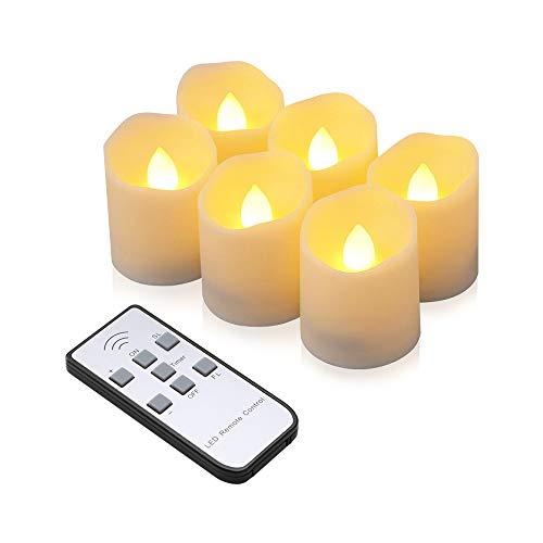LED Kerzen , synmixx 6 LED Flammenlose Teelichter Flackern Kerzen mit Fernbedienung, Timerfunktion, Dimmbar, Elektrische Kerze Lichter für Weihnachtsdeko, Party, Geburtstags (Warmweiß )