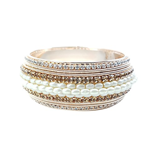 Luxaim Stylish Gold-Plated Cuff Bracelet Kada Kadaa for Girls, Women, Ladies, Velvet Designer Strap, New Party Wear Fancy Special Fashion Wedding Collection Accessories Design at Low Price Cost Great for Jewellery Diwali Festival Gift for Girlfriend & Sister (Blue)