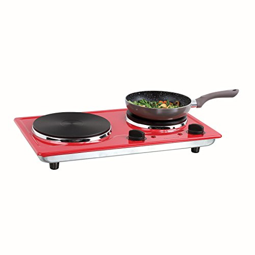 Double plaque de cuisson 2plaques de camping Réchaud de camping 5niveaux (Plaques de cuisson, 2500W, Mobile électrique Cuisinière, 2thermostats, rouge)