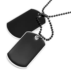 collier viril pour hommes style arm e pendentif double dog tag cha ne biker noire 68 cm. Black Bedroom Furniture Sets. Home Design Ideas