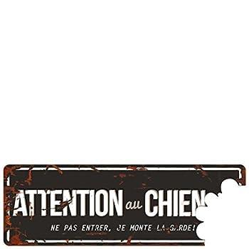 D&D - Plaque Attention au Chien Grey - Noir