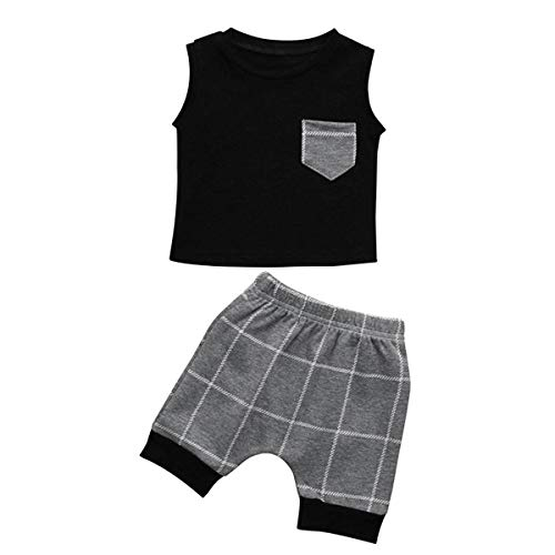HaiQianXin Sommer Baby Boy Kleidung Sets Sleeveless T-Shirt Weste Tank Tops & Plaid Check Shorts 2 teile/satz (Size : 12M) -