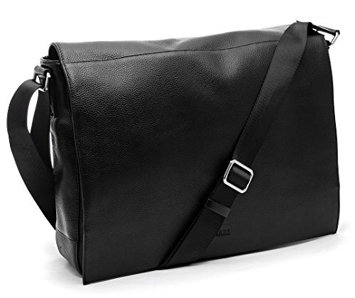 Bovari echt Leder Messenger Bag Umhängetasche Schultertasche Laptoptasche Notebooktasche (bis 15,6 Zoll) Model Metz - Herren Damen - 39x31x9 cm - Limited Premium Edition (schwarz classic) - Classic Messenger Bag