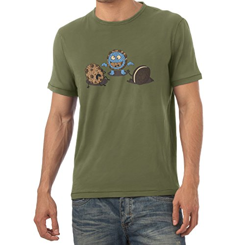 Texlab Monster Prank Cookie - Herren T-Shirt, Größe L, Oliv (Tier Maske Muppet)