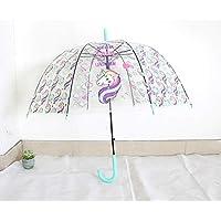 LANJINGTransparent umbrella umbrella female Korean small fresh student unicorn adult children cute cartoon long handle umbrella