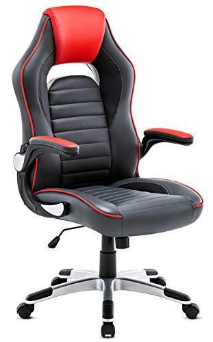 Ergonomischer Bürostuhl, Gaming stuhl, Schreibtischstuhl mit Hoher Rückenlehne und gepolsterten Armlehnen, Höhenverstellbarer Chefsessel Kunstleder Drehstuhl mit Wippfunktion, Rot+Grau - Hohe Rückenlehne Ergonomischer Stuhl