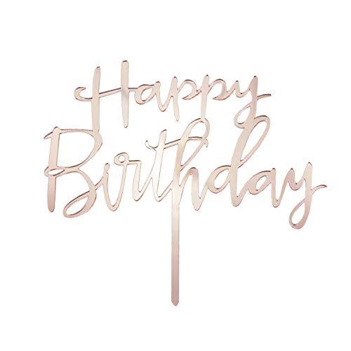 Oblique Unique® Torten Kuchen Topper Aufsatz Happy Birthday Geburtstag Jubiläum Deko Muffin Cupcake Dekoration Gold Roségold - Farbe wählbar (Roségold)