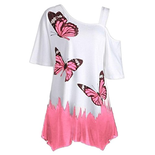 VEMOW Heißer Verkauf Große Größe Frauen Damen Mädchen Sommer Schmetterling Druck T-Shirt Kurzarm Casual Tops Bluse (EU-48/CN-2XL, Rosa) - Mint Ringer T-shirt