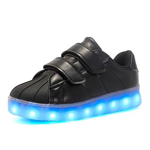 Ragazzi Ragazze 16 Colori LED Light Up Scarpe da Corsa per Bambini Scarpe da Ginnastica Lampeggianti USB Light Shoes(Nero EU 30)