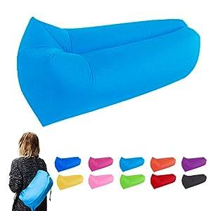 vilisun aufblasbare Liege Couch, Air Sleeping Betten mit Tragetasche, wasserfest tragbar und langlebigem Nylon Stoff Lazy Bag Sofa für Camping, Strand, Park, Backyard, Reisen, blau