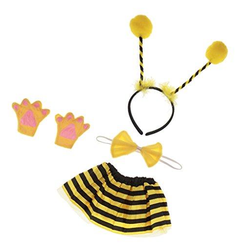 MagiDeal Kinder Biene kostüm - Stirnband, Fliege, Handschuhe und Rock für Kinder Fasching Karneval Fasnacht Weihnachten Party Kostüm