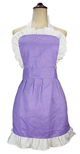 lilments Damen Rüschen Outline Retro Taschen Schürze Küche Kochen Reinigung Dienstmädchen Kostüm violett (Halloween-kostüm Violett)