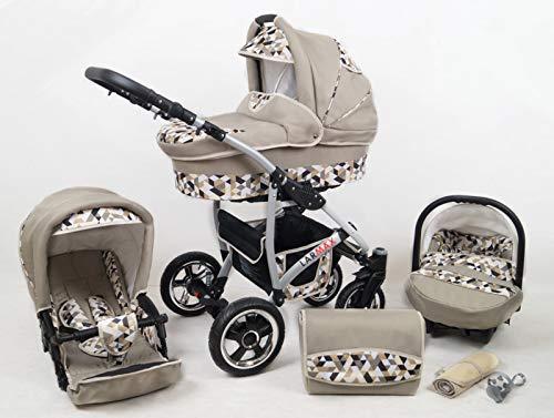 True Love Larmax Kinderwagen Komplettset (Autositz & Adapter, Regenschutz, Moskitonetz, Schwenkräder) (Khaki Geometrie) -